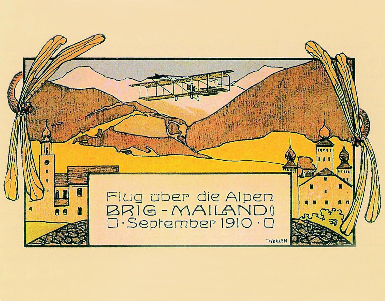 Kunstmaler Ludwig Werlen, Geschinen/Brig, 1884–1928, schuf  im Auftrag des Briger  Flugkomitees die Grafik im prägenden Jugendstil.