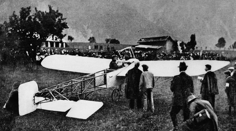 Ried-Brig: Chavez'  Start zum Alpenflug über den Simplon am  23. September 1910.