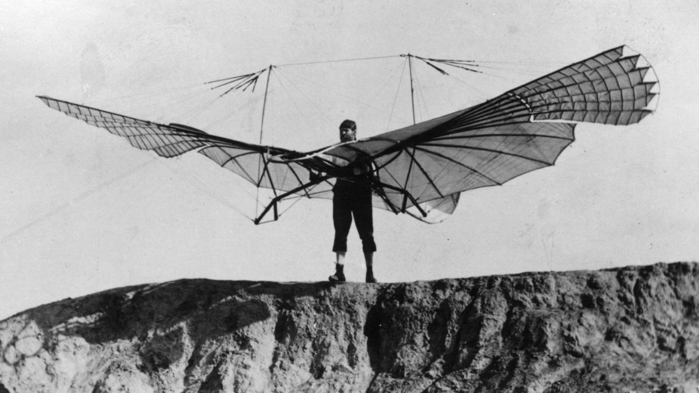 Otto ohne Motor: Lilienthal mit Flügelschlagapparat am 16. August 1894